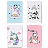 Czemo Pack de 4 Cuaderno A5 Libretas Bonitos Bloc de Notas Cuaderno de Notas Tapa Blanda Cubierta de Kraft Diario de...