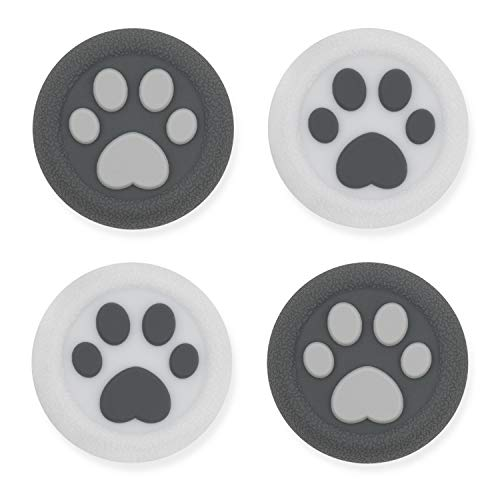 GeekShare Cat Paw Playstation 4 Controller Thumb Grips-Silicone Joystick Button Caps-Analog Thumbsticks Cover Set Compatible with Switch Pro and PS4 PS5 Controller-2 Pair/4 Pcs(Sesame Gray)