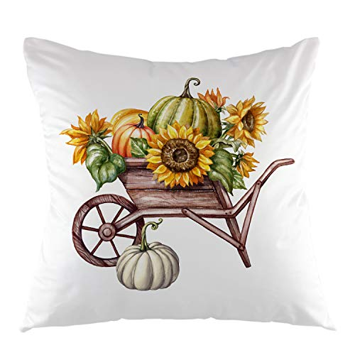 oFloral Pumpkin Sunflower in The Wheelbarrow Throw Pillow Cover Square Cushion Case Home Decorative for Sofa Couch Thanksgiving Halloween Festival 18' x 18' inch Brown Yellow Green