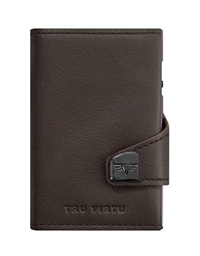Tru Virtu® Geldbörse RFID/NFC Schutz - Portemonnaie Click & Slide Nappa Brown/Silver - Kartenetui mit Scheinfach aus Aluminium & Leder für Herren und Damen - 9,9 x 6,7 x 2,1 cm