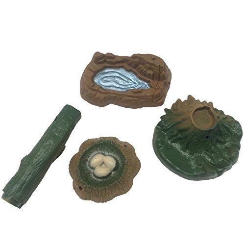 FUNSHOWCASE Spielset aus Teich, Nest, Baumstumpf, Baumstamm, Feengarten, Landschaft, Miniatur-Sandkasten-Spielzeug