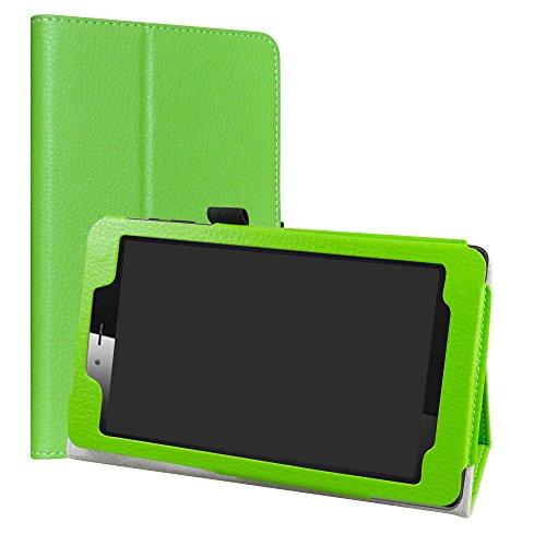 Vodafone Smart Tab Mini 7 / Alcatel Pixi 4 7 Funda,LiuShan Folio Soporte PU Cuero con Funda Caso para 7' Vodafone Smart Tab Mini 7 / Alcatel Pixi 4 7 Android Tablet,Verde