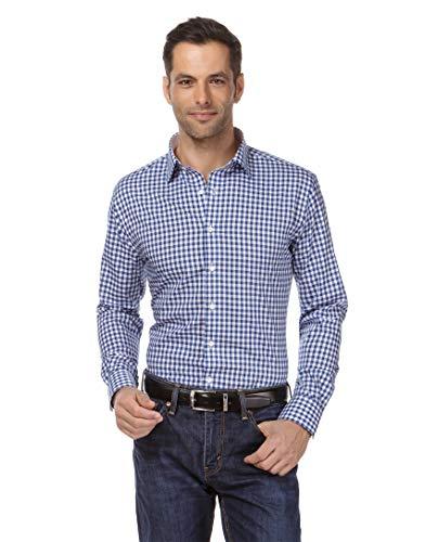 Vincenzo Boretti Herren-Hemd bügelfrei 100% Baumwolle Slim-fit tailliert kariert New-Kent Kragen - Männer lang-arm Hemden für Anzug Krawatte Business Freizeit blau 41/42