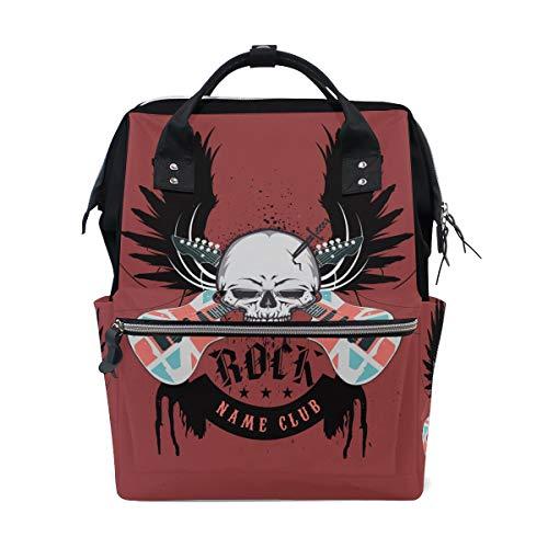 Alinlo Wickeltasche mit Totenkopf-Motiv, mit großer Kapazität, multifunktionale Kinderwagen-Gurte, Mumien-Tasche, für Reisen und Babypflege