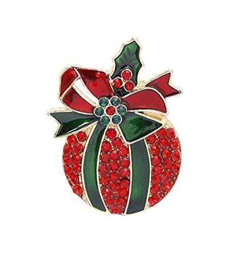 MENGHUA Broche de Navidad Creativa Manzana Trineo Elk Bell Muñeco de Nieve Diamante Cowboy Insignia 01