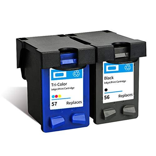 SXCD Cartucho de tinta 56 57 para HP, compatible con impresora HP Deskjet 9650 9680 5550 PhotoSmart 7150 7260 Officejet 4255 5652 5608 PSC 1110, cartuchos tricolor 1 + negro