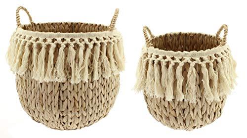 MIK Funshopping 2-delige set gevlochten mand met handvat van zeegras voor het opbergen van kleine spullen, speelgoed of planten