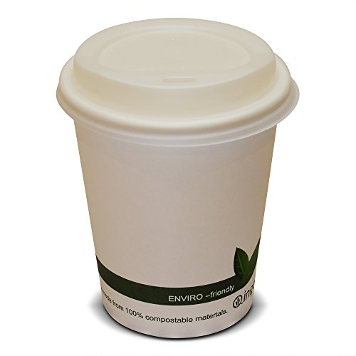 50 8oz (227ml)-12oz (340ml)-16oz (450ml) Disposable Biodegradable & Compostable Paper Coffee Cups with White Sip Lids (8oz (227ml) 50 Pack)