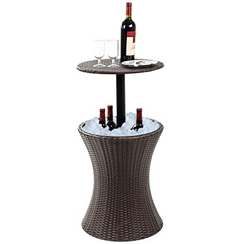Dawoo 5-Gal Cool Bar Rattan Style Outdoor Patio Pool Cooler Table with Height Adjustable Outdoor Wicker Ice Bucket Cocktail Coffee Table for Party, Pool, Deck, Backyard Use (Brown)