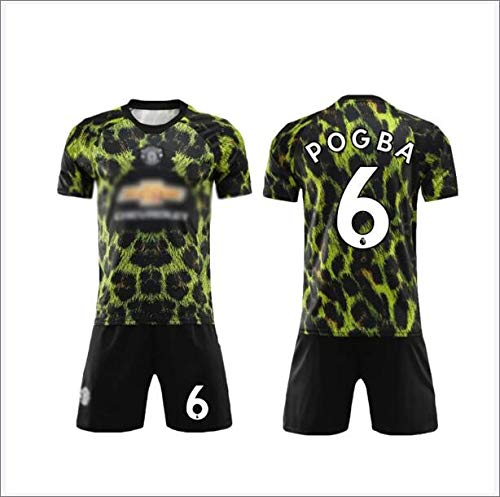 SUNY Manchester United Football Club 20/21 Home/Away Game No.6 Paul Pogba Fußball Trikot Sportswear Set Männer Schnell Trocknend Laufendes T-Shirt Trainingskleidung,Grün,L