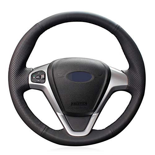 DLDBB DIY handgenähte Schwarze Leder Autolenkradabdeckung, für Ford EcoSport 2014-2017 Fiesta 2008-2017