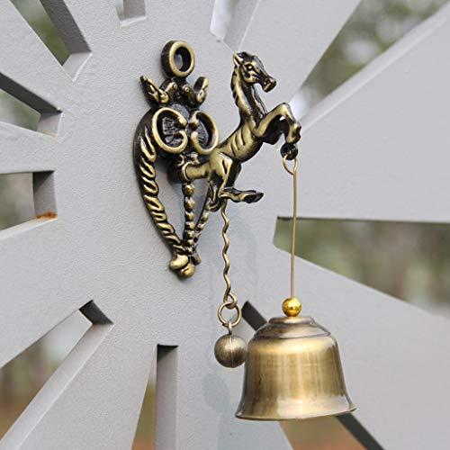 SXZHSM retro nostalgie boutique windbel windgong huis pony wanddecoratie bel deco 11 x 4,5 cm / klok 3,5 x 3 cm bel