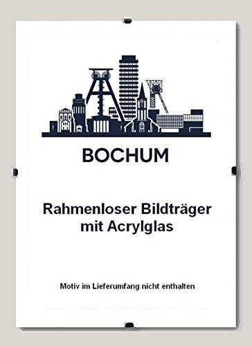 Homedeco-24 Bochum Rahmenloser Bildhalter 60 x 80 cm Cliprahmen 80 x 60 cm Hier 1 Bildhalter mit Acrylglas Antireflex 1 mm