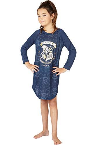 Harry Potter Hermine Hogwarts Logo Ravenclaw Hauswappen Raglan Schlafshirt Pyjama Nachthemd, Navy, 14/16