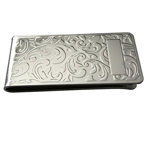 silberkanne Geldscheinklammer Filigran mit Gravurfeld 6x3 cm Silber Plated versilbert in Premium Verarbeitung