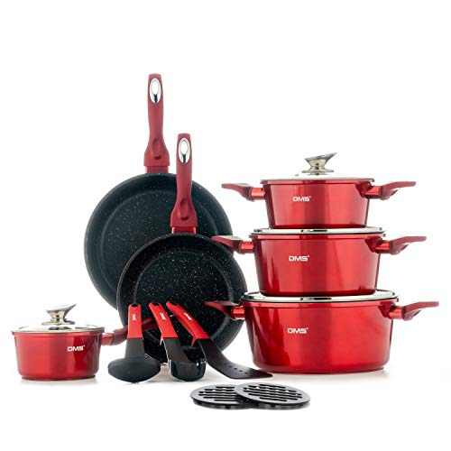DMS® 15-teilig Induktion Kochgeschirr Kochset Töpfe Pfannen Bratpfanne Kasserolle Suppentopf mit Glasdeckel 3 Küchenutensilien 2 Topfuntersetzer Marbel Beschichtung Spülmaschinengeeignet (Rot)