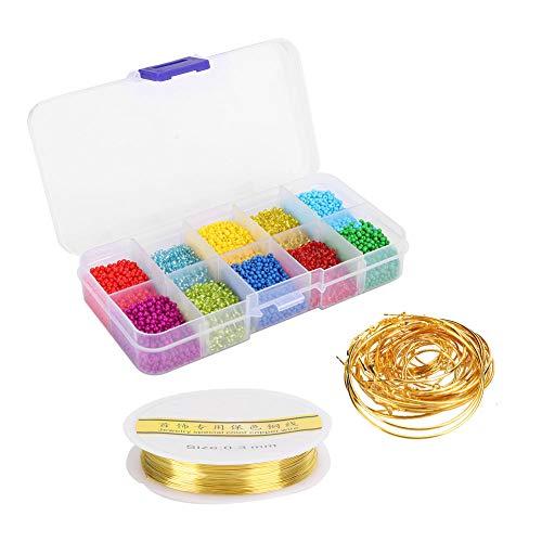 Kit de hilo de anillo de cuentas de artesanía de bricolaje duradero, varios colores, joyería de bricolaje, pulsera, collares, hilo de cuentas de artesanía con alambre de cobre, para hacer joyas
