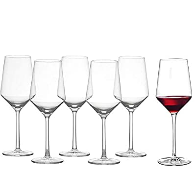 Wine Glasses, Non-Leaded Crystal, Hand Blown, Thin Rim, Lipless, Long Stem, Red and White, Modern, Goblet, Set of 6