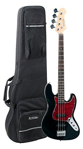 Rocktile Pro JB-30BK 70´s Deluxe E-Bass Black Set (2 Single-Coil Tonabnehmer, Ahorn Hals, 20 Bünde, inkl. Leichtkoffer)