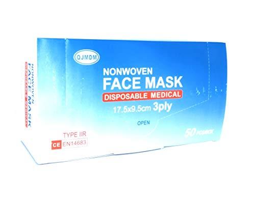 OP Masken 50x Stück Medizinische Gesichtsmaske - TYP IIR, Zertifiziert CE - EN14683