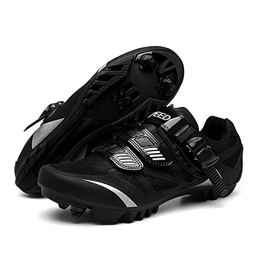 KUXUAN Zapatillas de Ciclismo para Hombre Zapatillas de Bicicleta de Montaña SPD Zapatillas de Ciclismo Al Aire Libre Transpirables Compatibles con Tacos SPD,Black-3.5UK=(230mm)=36EU