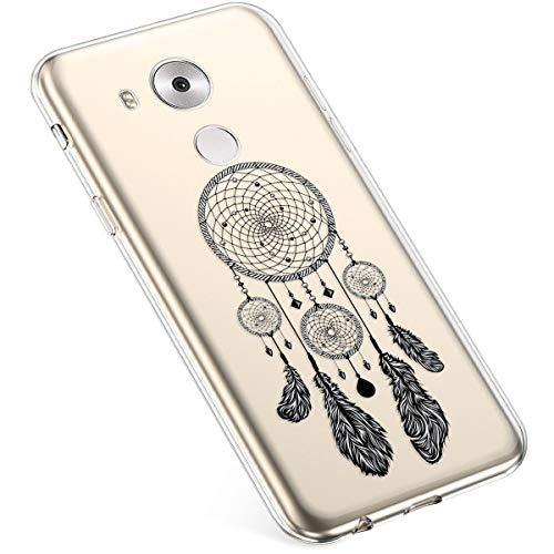 Coque pour Huawei Mate 8 Silicone Etui,Uposao Huawei Mate 8 Coque Transparent avec Motif Fleur Crystal Clear Case Premium Semi Hybrid Ultra Mince Slim Soft TPU Antichoc Bumper,Dreamcatcher