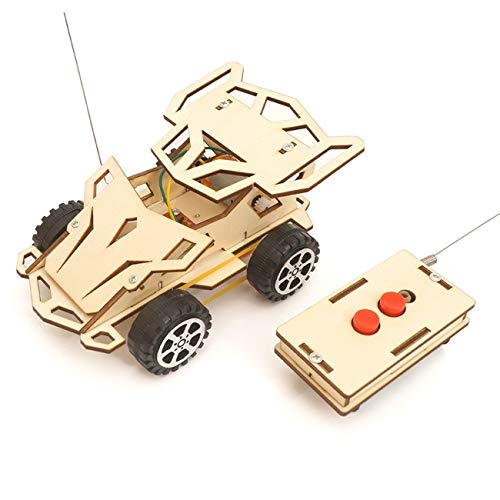RdChicLog Assembled Electric Remote Control Jeep 3D Wooden Jigsaw Puzzle STEM Toy Racing Car DIY Science Experiment Kit for Kids and Teenager