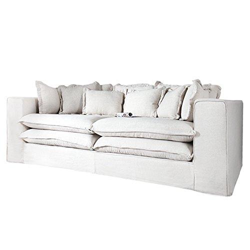 Invicta Interior Big Sofa XXXL Hussensofa Cloud Creme Leinen Stoff Hussen 230cm Wohnlandschaft