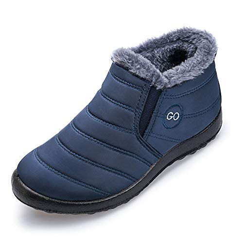 Womens Winter Snow Boots Fur Lined Warm Ankle Boots Slip On Waterproof Outdoor Booties Comfortable Shoes for Women Blue