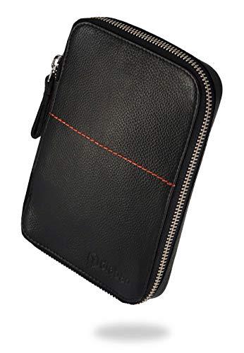 diabag ONE Plus Hochwertige Diabetikertasche für unterwegs aus isolierendem schwarzem Nappaleder I Tasche für Insulin Pen - Stechhilfe - Blutzucker Messgerät - Teststreifen I 12 x 17,5 x 3 cm