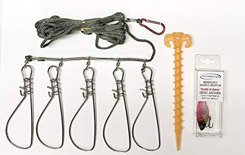 Grandpa's Secret Weapon Long Line Wide Clip Fish Stringer with Bank Stake