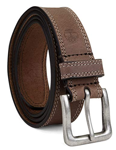 Timberland Men's Big and Tall Classic Leather Jean Belt 1.4 Inches Wide (Big & Tall Sizes Available), Dark Brown (Stitched), 52