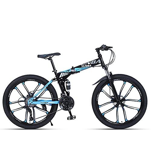 Bicicleta Adulta, Bicicleta De Montaña De Freno De Absorción De Amortiguador Plegable 24 Pulgadas / 26 Pulgadas De La Velocidad del Estudiante-Negro Azul Diez Cuchillo Rueda_26 Pulgadas 24 Velocidad,