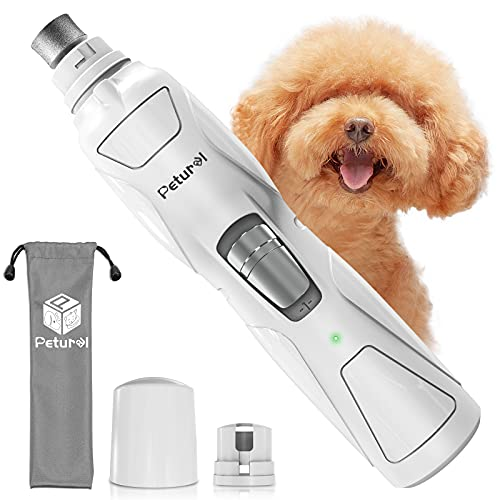 Petural Dog Nail Grinder Clippers – Upgraded 2-Speed Rechargeable Electric Pet Nail Trimmer – Painless Paws Grooming, Trimming Tool, Smoothing for Large, Medium & Small Dogs
