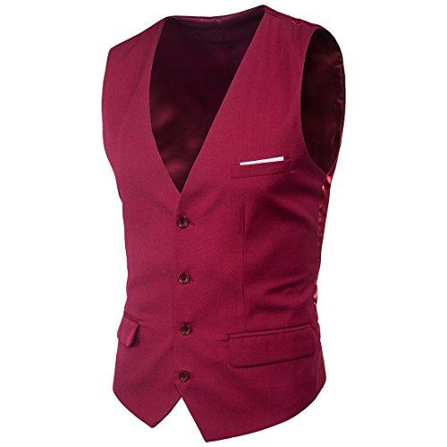 Mxssi Anzug Weste Neue Formale Patchwork Herren Kleid Anzüge Weste Plus Größe Mode Slim Fit Hochzeit Männer Weste Wein Rot 6XL