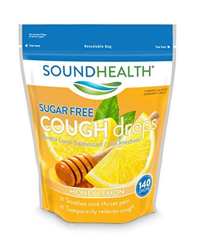 SoundHealth Sugar-Free Cough Drops, Cough Suppressant Throat Lozenge, Honey Lemon Flavor, 140 Count Bag