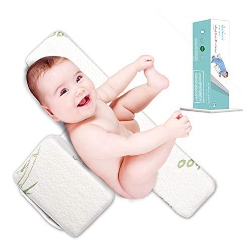 AsBoty Babys Side Schlafkissen Einstellbare 45° Dreieck-Baby Kopfkissen Vorbeugung Flachkopf-Syndrom Bambusfaser Memory Baumwolle Reißverschluss-abnehmbar und waschbar (3-12 Monate)