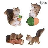 everd1487HH 4Pcs Mini Squirrel Animal Figurine DIY Miniature Fairy Garden Bonsai Ornament,Novely and Funny Home Ornaments Children Gift- Grey 4pcs