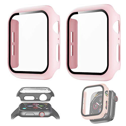 2PCS For Apple watch series6 5 4 3 2 1 cover Tempered glass film for iwatch,For Watch anti-fall shell Hard PC+TPU Cover (Pink, Series 456 SE 44MM)
