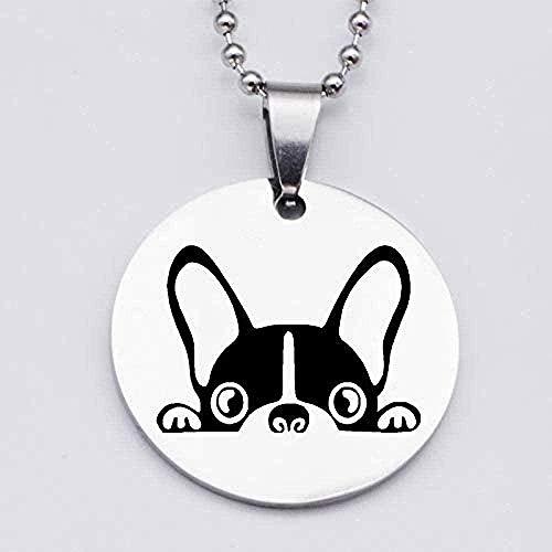 Liuqingzhou Co.,ltd Collar Collar Collar de Acero Inoxidable 316L Collar con Colgante de Perro Lindo Estampado Animal Encantador Amante de Bulldog francés Regalo Joyería Neklace para Mujeres