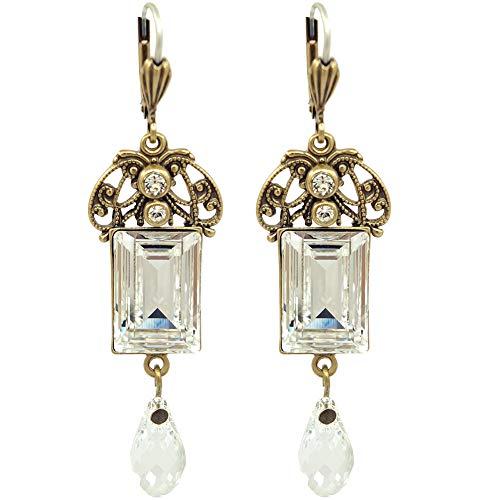 Jugendstil Ohrringe mit Kristallen von Swarovski® Gold Crystal NOBEL SCHMUCK