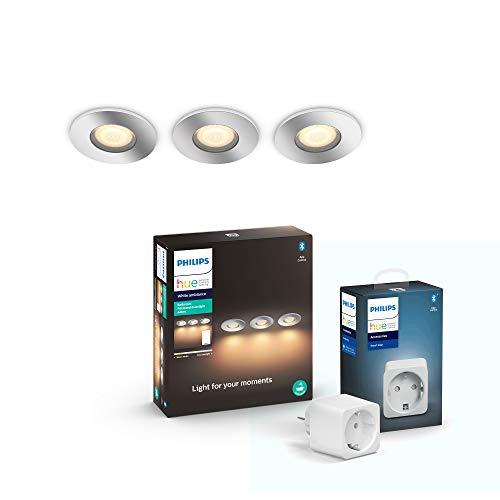 Philips Hue White Amb. Adore LED-Einbauspot Adore inkl. Dimmschalter, Bad-Beleuchtung, silber, rund, dimmbar, alle Weißschattierungen, Smart Plug, smarte Steckdose, kompatibel mit Amazon Alexa