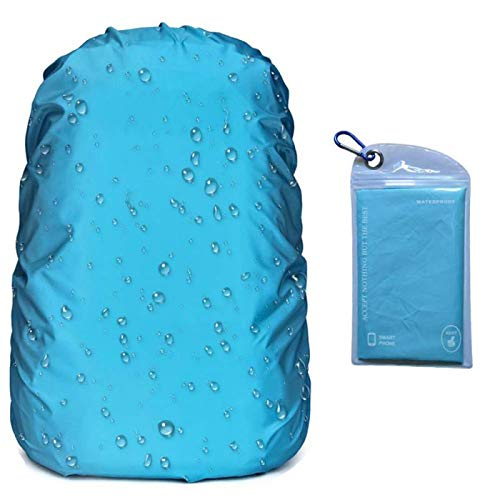 OUTJOY Backpack Rain Cover (26L-40L) Waterproof Rainproof Backpack Pack Cover with Silver Coating Reinforced Inner Layer for Hiking Camping Traveling Cycling (Azury)