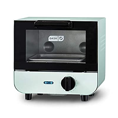 Dash DMTO100GBAQ04 Mini Toaster Oven Cooker for Bread, Bagels, Cookies, Pizza, Paninis & More with Baking Tray, Rack, Auto Shut Off Feature, Aqua