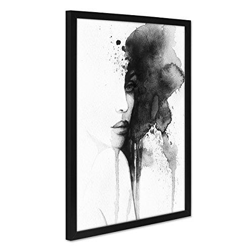 PHOTOLINI Design-Poster mit Bilderrahmen Schwarz \'Aquarell Frau\' 30x40 cm schwarz-Weiss Moderne Kunst Abstrakt