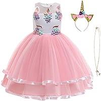 URAQT Unicorn Costume, Princess Unicorn Dress Fancy Dress with Necklace, Headband for Kids & Toddlers...