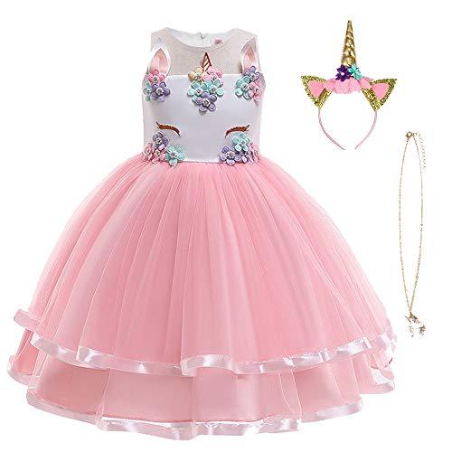 URAQT Disfraz Unicornio Niña, Vestidos Unicornio Niña, Disfraz de Princesa, para Fiesta de Cosplay, Boda, Partido,Vestido de Princesa 150 cm