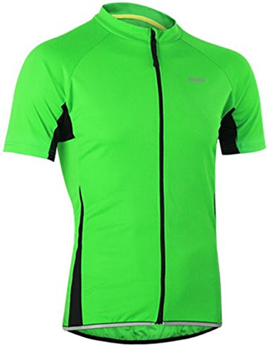 Radtrikot Kurzarm Herren Atmungsaktiv Fahrrad Trikot Full Reißverschluss Schnell Trocken Radsport MTB Fitness Jersey (EU L (Tag XL), Grün)