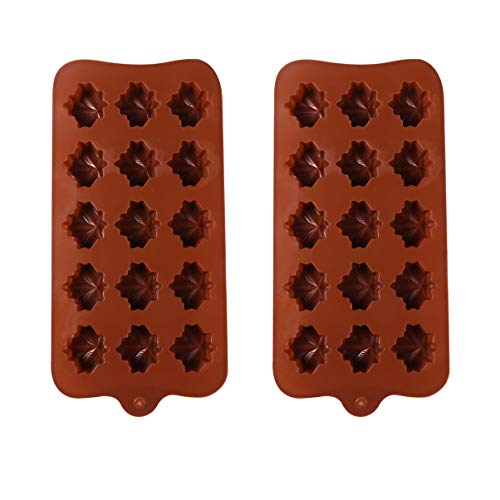 Yarnow 2pcs Silicone Chocolate Molds Maple Leaf Shape Candy Baking Mold for Ice Cubes Desert Biscuit Bread Fondant DIY Making Tool