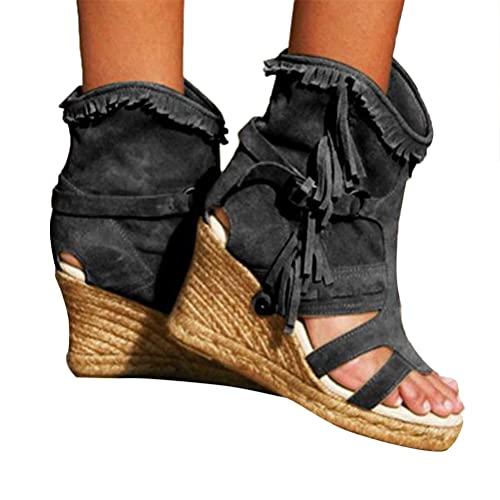 Minetom Sandalias con Borlas para Mujer Tacón De Cuña Sandalias Romanas De Gladiador Bohemio Sandalias De Verano Botines Zapatos De Playa A Negro 37 EU